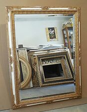 "Large Ornate Solid Wood ""35x45"" Rectangle Beveled Framed Wall Mirror"