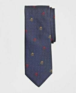 "$100 NWT Brooks Brothers multi color Golden Fleece® Navy pindot 3.25"" silk Tie"