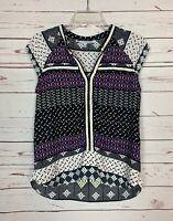 Collective Concepts Stitch Fix Women's S Small Black White Boho Fall Top Blouse