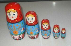 Vintage Traditional Russian Matryoshka  Wooden Nesting Dolls 5 Doll Set