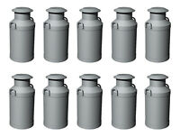 Hornby R8678 Skaledale 10 x Milk Churns Silver 1/76 Scale = 00 Gauge - 1st Post