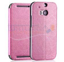 FUNDA SOPORTE de PIEL TEXTURIZADA ROSA para HTC ONE 2 (M8) case flip libro