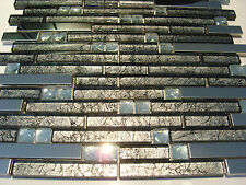 Glasmosaik Edelstahl Mosaik Metall Fliese schwarz silber grau diamant effekt