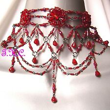 Bright Red Regency Goth Victorian Moulin Wedding Prom Ball Glass Choker Necklace