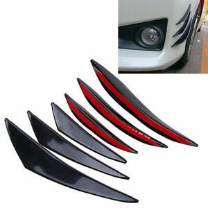 6pcs Universal Car Bumper Shark Fin Canard Splitter Diffuser Valence Spoiler Lip