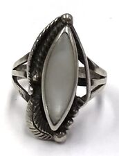 Vintage Oxidized Navajo Sterling Silver Mother of Pearl Feather Cocktail Ring