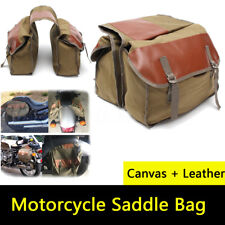 Brand New Canvas Bicycle Luggage Bags Motorcycle Motorbike Saddle Bags Green