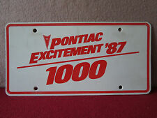 """"""" PONTIAC EXCITEMENT '87 1000 """" Corporate Booster Plate:   """" NEW ~ RARE """"!!"""