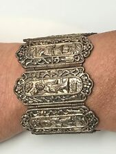 Rare Antique Chinese Silver Bracelet 7 Figural Goddess Immortals Chinese Export