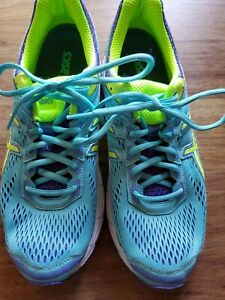 ASICS GT-1000 5 Women's Sz 10 US Teal Purple Yellow Running Athletic Shoes T5A7N