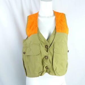 LL Bean Women's Hunting Field Vest Tan Orange vintage XS