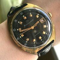 Soviet VOSTOK MO KOMANDIRSKIE Military Formal Rare Date Watch Gold Plated USSR