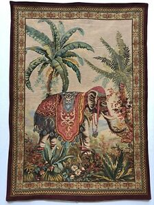 French Tapestry L' Elephant Woven Wall Hanging 39 x 27 France 18th Century