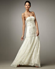 HOT Sue Wong Embellished Beaded Strapless Lace Pleated Skirt Wedding Dress Gown!