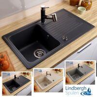 Spüle Spülbecken BORNEO Granit Küche Einbauspüle 78 x 44 Schwarz Armatur Umberto