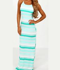 Ladies Womens Sleeveless Spaghetti Strap Striped Jersey Mint Cream Maxi Dress