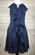 Venus Womens Navy Blue Dress Embellished Cable Neckline Ruffled Front Size 12