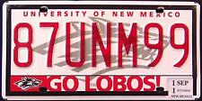 """NEW MEXICO """" UNIVERSITY OF NM GO LOBOS """" WOLF Specialty License Plate"""