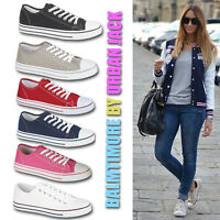 LADIES TRAINERS WOMENS FLAT CASUAL LACE UP CANVAS GIRLS SHOES PUMPS UK SIZES