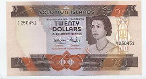 solomon Islands $20 note uncirculated #12 solomon central bank [y6399]