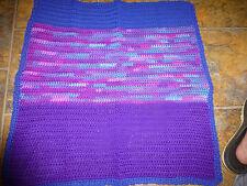 "Crocheted Doll/Baby Blanket Afghan, Purple Blue 100% Acrylic 27"" x 27"""