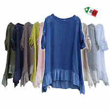 Italian Lagenlook Cleavage Lace Top Tunic Linen Frills Plus Size 14 16 18 20