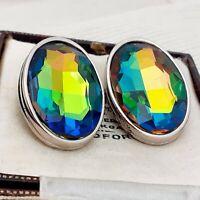 Vintage - 1980s SPHINX huge oval Watermelon Rainbow Glass Clip on Earrings