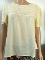 Dorothy Perkins Women's Pale Yellow Embroidery Lace Dobby Top 14 16 NEW RRP £24