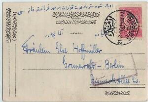 Turkey 1916 pc with 20 Pa stamp, SMYRNE  to Germany, censored