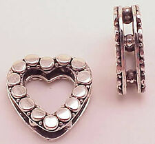 Bali Sterling Silver Open Heart Bead B970 (1) 19mm Use as Bead or Pendant