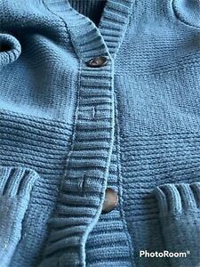 🌺Seasalt Cardigan Size 16 Blue Wool Chunky Knit Pockets 🌺