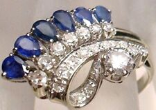 EXCEPTIONAL ART DECO DIAMONDS AND SAPPHIRES 18K SOLID WHITE GOLD COKTAIL RING