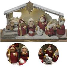 LED Weihnachtskrippe 8 Figuren Krippe Beleuchtet Krippenfiguren Stall Holz Deko