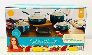 New! Pioneer Woman Classic Belly 10-Piece Ceramic Non-Stick & Cast Iron Cookware