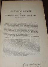A. REBILLON  Les Etats de Bretagne et les progrès de l'autonomie provinciale 18è