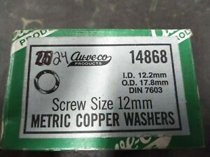 (Box of 24) Au-ve-co Metric Copper Washers for 12mm Screws ID 12.2mm OD 17.8mm