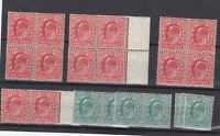 GB KEVII 1902 1/2d/1d Blocks/Pairs/Singles For Research SG216/220 MNH JK2753