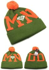 Diamond Supply Company New DMND Cuffed Pom Olive Orange Knit Beanie Era Hat Cap