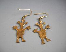 Earrings on Gold tone Ear Wires Whimsical Brass Happy People Drop DanglePierced