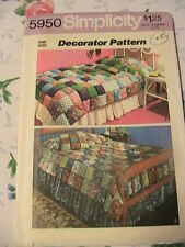 PUFF QUILT~COVERLET~PILLOW, Simplicity 5950 from 1973~twin & full sizes