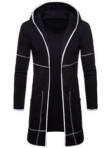Mens Loose Slim Cardigan Hooded Long Cloak Cape Coat Casual Fit Jacket Fashion
