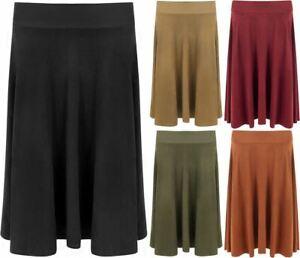 Womens Suede Look Flared Swing Skirt Ladies Plus Size Knee Length Skater Skirt