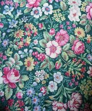 Green with pink roses small garden print fabric material sewing wildflowers chic