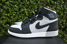 AIR JORDAN 1 RETRO HIGH GS GG SZ 9 Y BLACK GREY WHITE ALUMINUM 332148 005