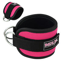 Weight Lifting MRX Ankle Strap D-Ring Thigh Pulley GYM Padded Anklet Straps Pink