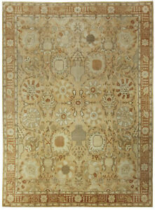 T a b r i z Design Light Brown, Gold & Beige Hand Knotted Wool Rug N10712