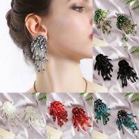 Fashion Irregular Crystal Tassel Bead Earrings Women Handmade Dangle Ear Stud