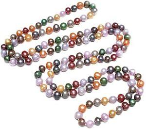 Elegant Long 8-9mm Multicoloured Freshwater Pearl Necklace for Women