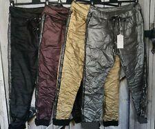 coole Italy Lederoptik Hose Jogg Pants 36 38 40 metallic Look in 4 Farben NEU
