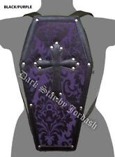 Dark Star Purple Black Gothic PVC Coffin Cross Stud Backpack Purse